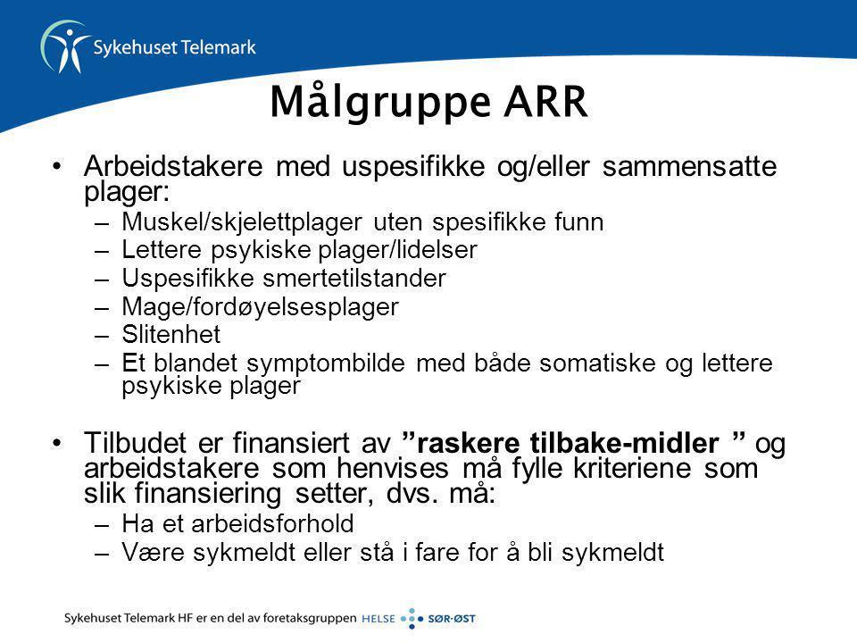 Målgruppe ARR •Arbeidstakere med uspesifikke og/eller sammensatte plager: –Muskel/skjelettplager uten spesifikke funn –Lettere psykiske plager/lidelse