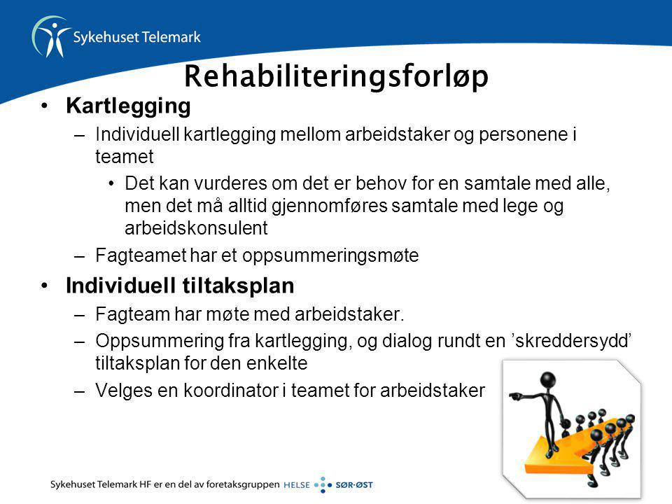 Rehabiliteringsforløp •Kartlegging –Individuell kartlegging mellom arbeidstaker og personene i teamet •Det kan vurderes om det er behov for en samtale
