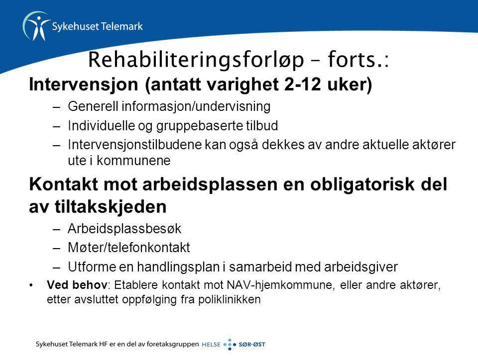 Rehabiliteringsforløp – forts.: Intervensjon (antatt varighet 2-12 uker) –Generell informasjon/undervisning –Individuelle og gruppebaserte tilbud –Int