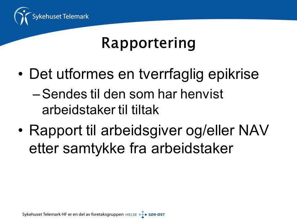Rapportering •Det utformes en tverrfaglig epikrise –Sendes til den som har henvist arbeidstaker til tiltak •Rapport til arbeidsgiver og/eller NAV ette