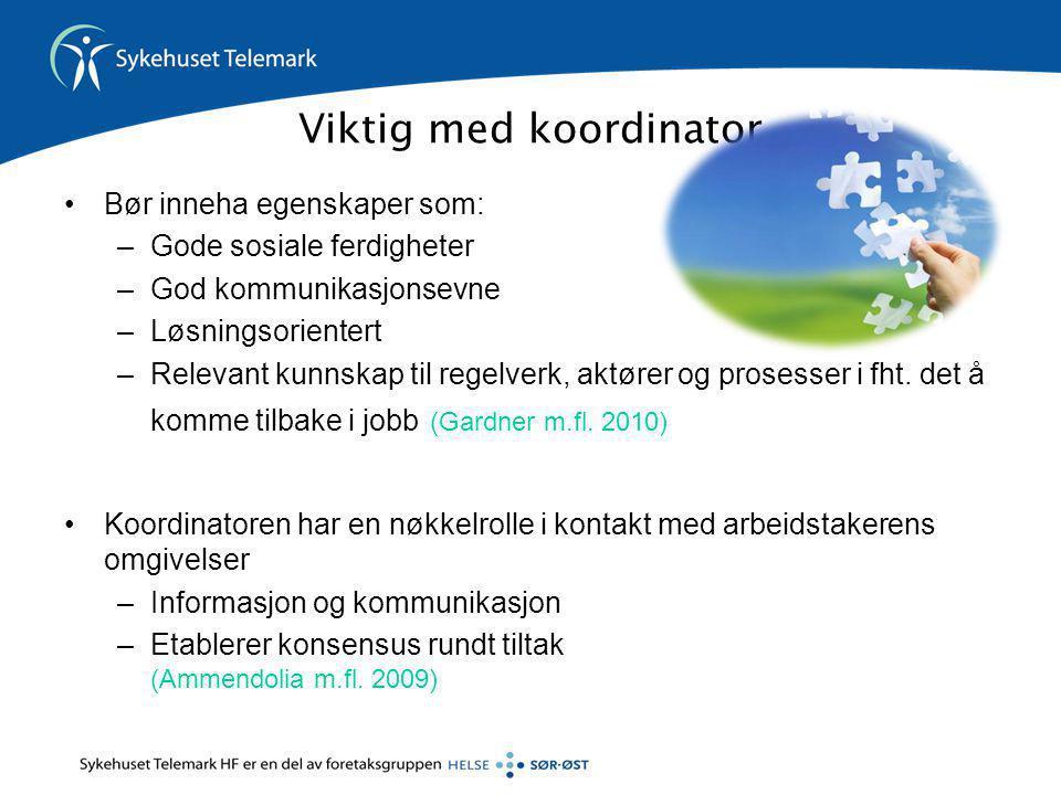 Viktig med koordinator •Bør inneha egenskaper som: –Gode sosiale ferdigheter –God kommunikasjonsevne –Løsningsorientert –Relevant kunnskap til regelve