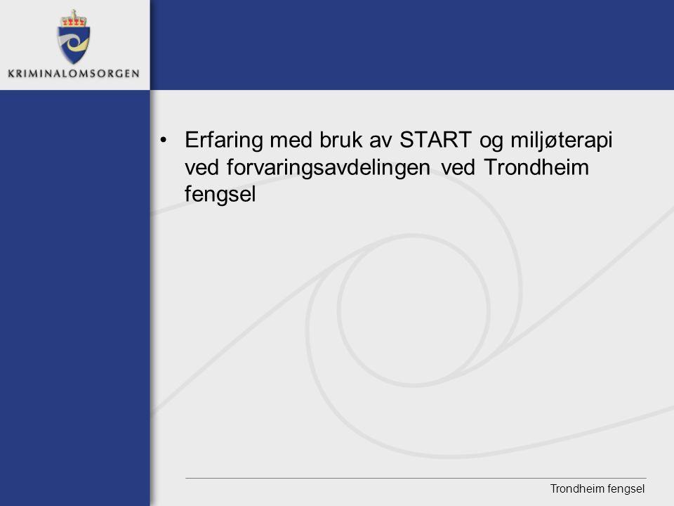 Trondheim fengsel • Erfaring med bruk av START og miljøterapi ved forvaringsavdelingen ved Trondheim fengsel