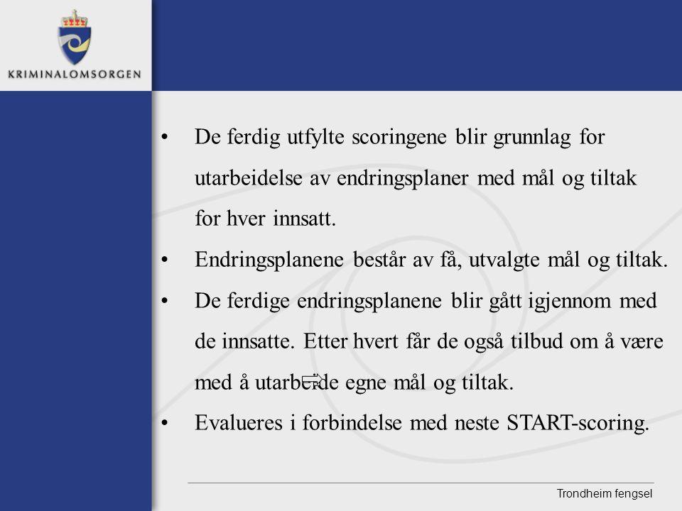 Trondheim fengsel •De ferdig utfylte scoringene blir grunnlag for utarbeidelse av endringsplaner med mål og tiltak for hver innsatt. •Endringsplanene