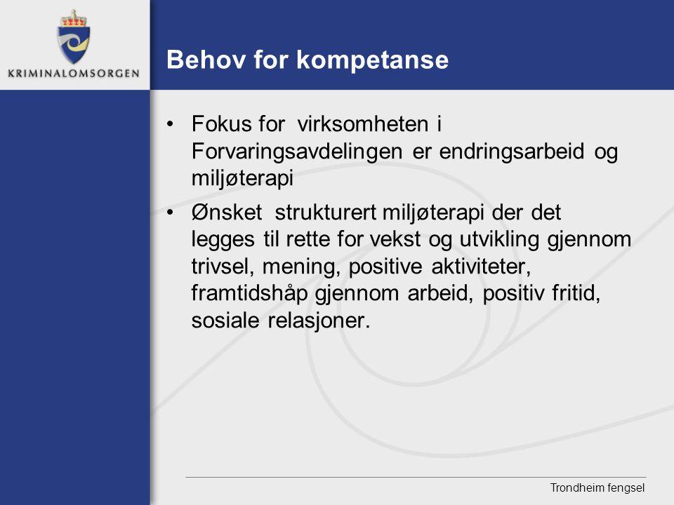 Trondheim fengsel Behov for kompetanse • Fokus for virksomheten i Forvaringsavdelingen er endringsarbeid og miljøterapi • Ønsket strukturert miljøtera