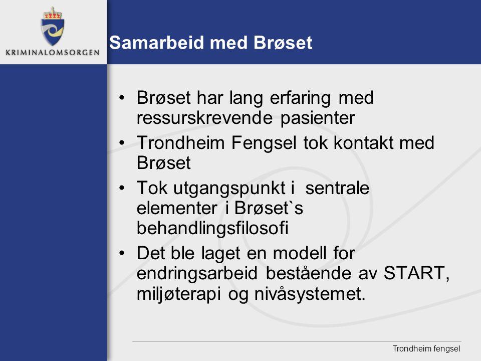 Trondheim fengsel Samarbeid med Brøset • Brøset har lang erfaring med ressurskrevende pasienter • Trondheim Fengsel tok kontakt med Brøset • Tok utgan
