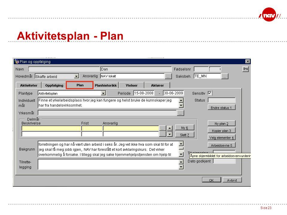 Side 23 Aktivitetsplan - Plan