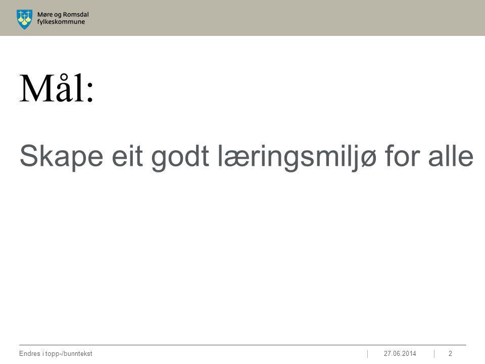 Mål: Skape eit godt læringsmiljø for alle 27.06.2014Endres i topp-/bunntekst2