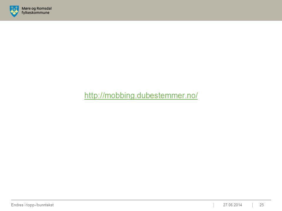 http://mobbing.dubestemmer.no/ 27.06.2014Endres i topp-/bunntekst25