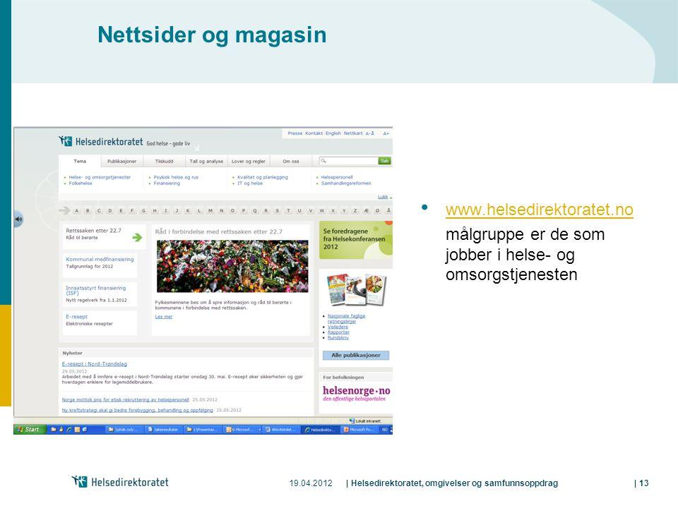 19.04.2012| Helsedirektoratet, omgivelser og samfunnsoppdrag| 13 Nettsider og magasin • www.helsedirektoratet.no www.helsedirektoratet.no målgruppe er