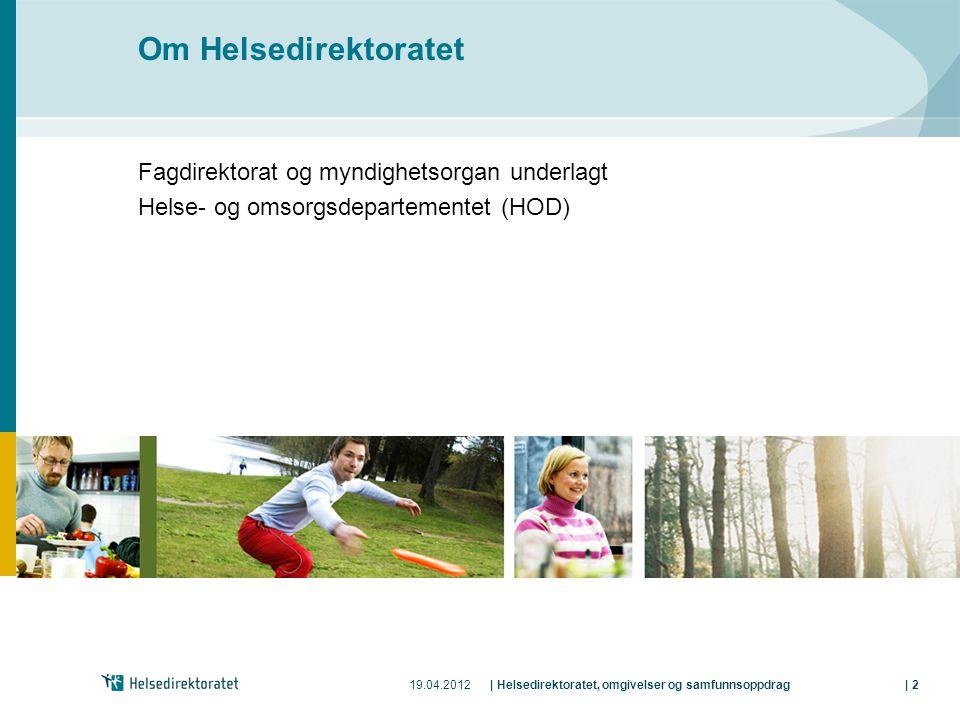 19.04.2012| Helsedirektoratet, omgivelser og samfunnsoppdrag| 2 Om Helsedirektoratet Fagdirektorat og myndighetsorgan underlagt Helse- og omsorgsdepar