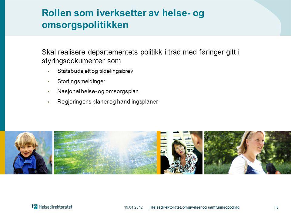 19.04.2012| Helsedirektoratet, omgivelser og samfunnsoppdrag| 8 Rollen som iverksetter av helse- og omsorgspolitikken Skal realisere departementets po