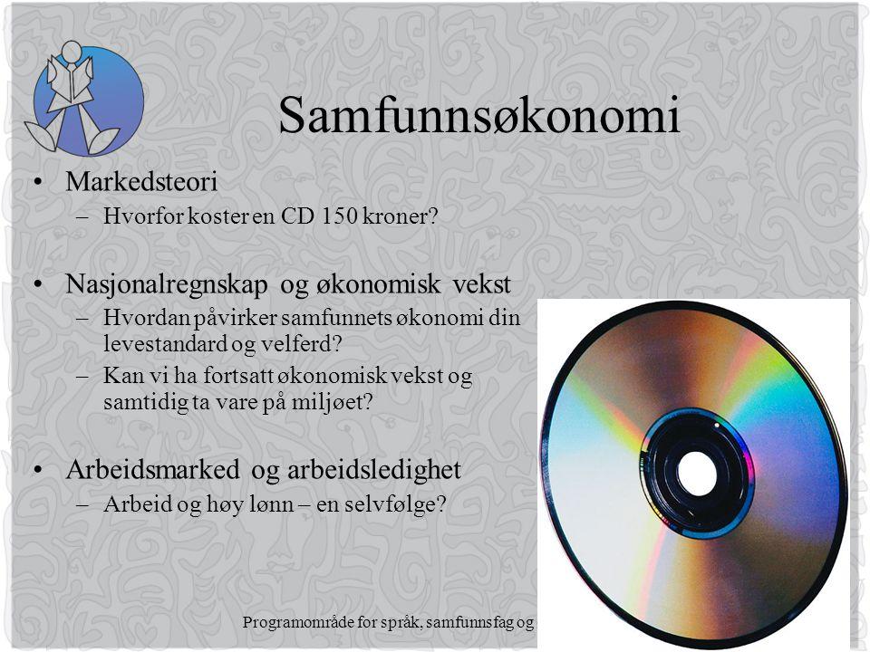 Programområde for språk, samfunnsfag og økonomi Samfunnsøkonomi •Markedsteori –Hvorfor koster en CD 150 kroner.