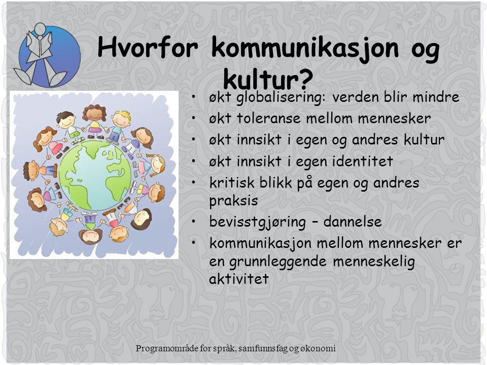 Programområde for språk, samfunnsfag og økonomi Hvorfor kommunikasjon og kultur.