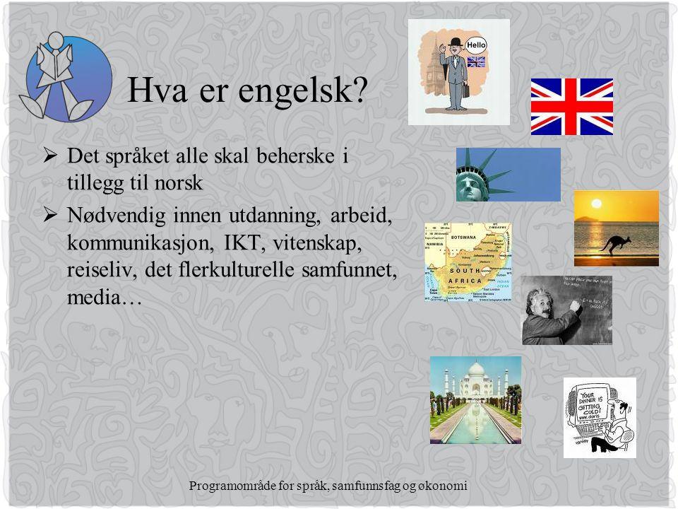 Programområde for språk, samfunnsfag og økonomi Hva er engelsk.