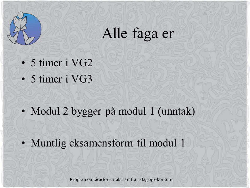 Programområde for språk, samfunnsfag og økonomi Alle faga er •5 timer i VG2 •5 timer i VG3 •Modul 2 bygger på modul 1 (unntak) •Muntlig eksamensform til modul 1