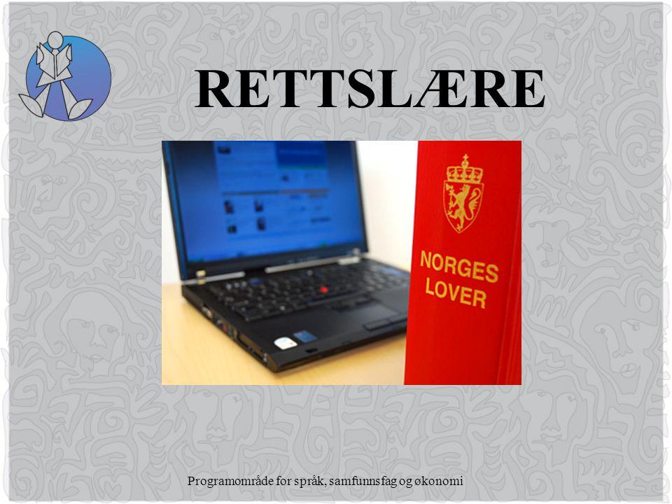 Programområde for språk, samfunnsfag og økonomi RETTSLÆRE