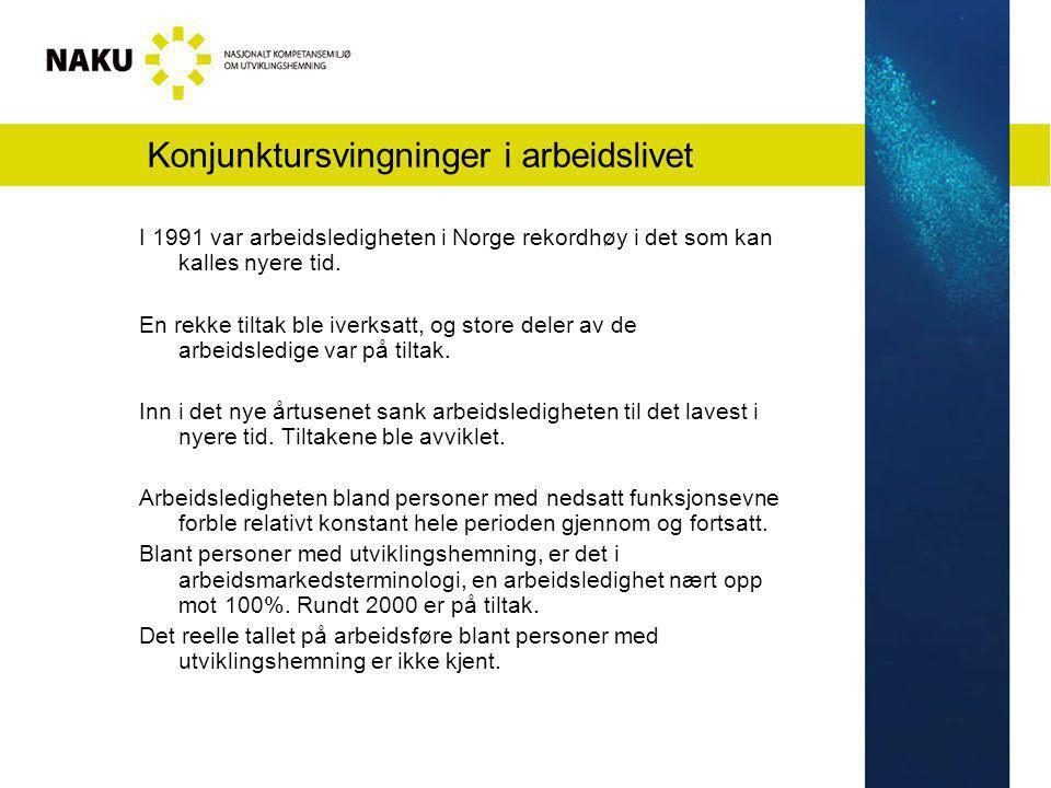 Konjunktursvingninger i arbeidslivet I 1991 var arbeidsledigheten i Norge rekordhøy i det som kan kalles nyere tid. En rekke tiltak ble iverksatt, og