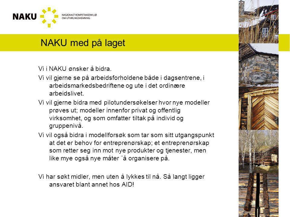 NAKU med på laget Vi i NAKU ønsker å bidra. Vi vil gjerne se på arbeidsforholdene både i dagsentrene, i arbeidsmarkedsbedriftene og ute i det ordinære