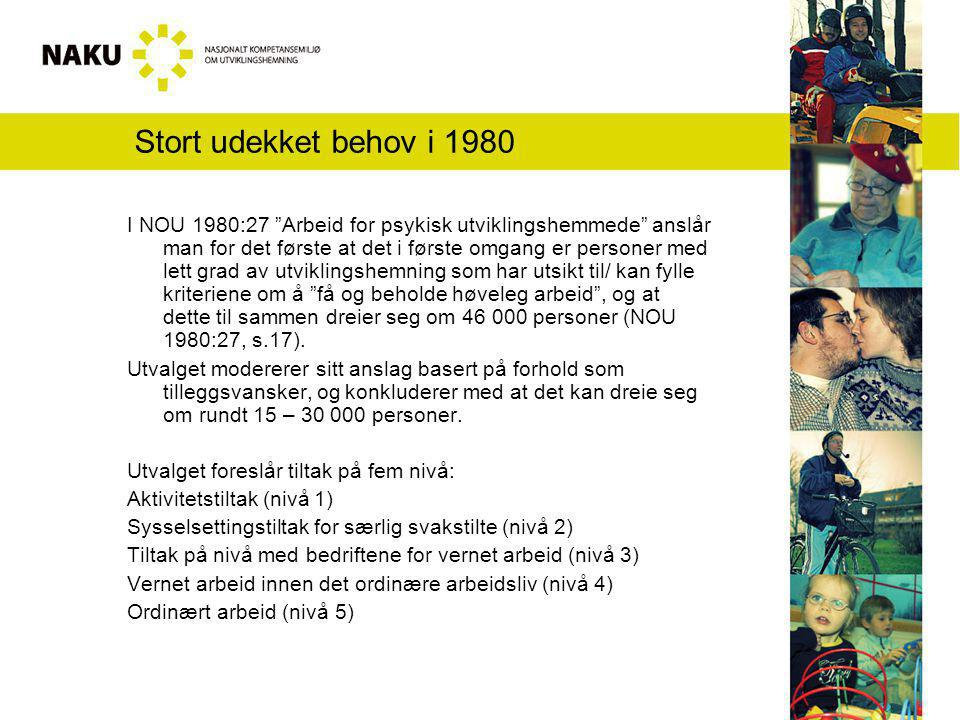 Stort udekket behov i 1980 I NOU 1980:27 Arbeid for psykisk utviklingshemmede anslår man for det første at det i første omgang er personer med lett grad av utviklingshemning som har utsikt til/ kan fylle kriteriene om å få og beholde høveleg arbeid , og at dette til sammen dreier seg om 46 000 personer (NOU 1980:27, s.17).