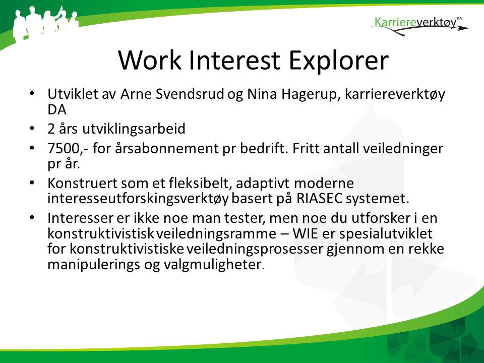 Work Interest Explorer • Utviklet av Arne Svendsrud og Nina Hagerup, karriereverktøy DA • 2 års utviklingsarbeid • 7500,- for årsabonnement pr bedrift.