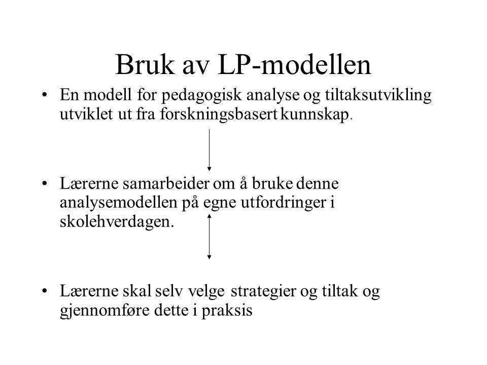 Bruk av LP-modellen •En modell for pedagogisk analyse og tiltaksutvikling utviklet ut fra forskningsbasert kunnskap. •Lærerne samarbeider om å bruke d