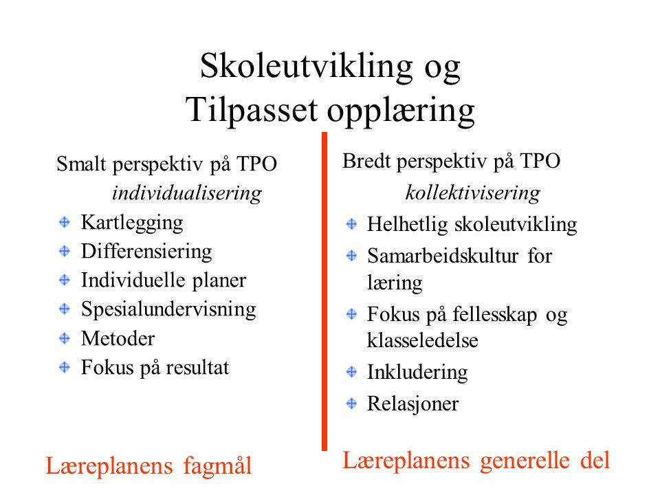 Skoleutvikling og Tilpasset opplæring Smalt perspektiv på TPO individualisering Kartlegging Differensiering Individuelle planer Spesialundervisning Me