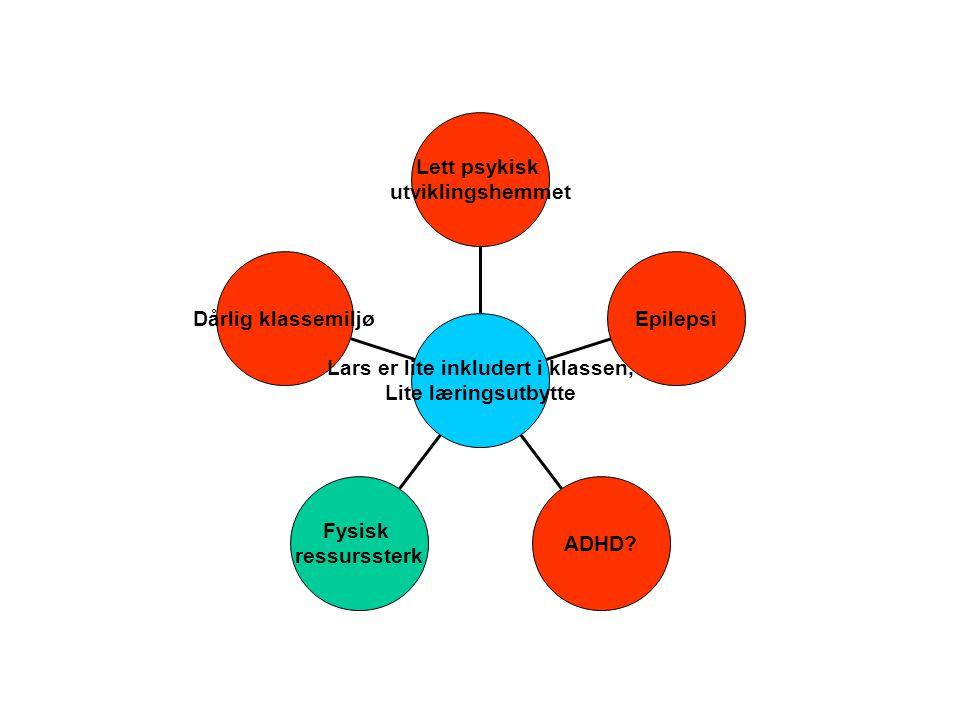 Lett psykisk utviklingshemmet Epilepsi ADHD? Fysisk ressurssterk Dårlig klassemiljø Lars er lite inkludert i klassen, Lite læringsutbytte