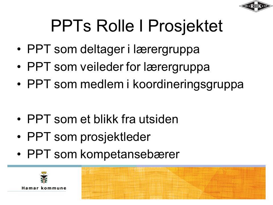 PPTs Rolle I Prosjektet •PPT som deltager i lærergruppa •PPT som veileder for lærergruppa •PPT som medlem i koordineringsgruppa •PPT som et blikk fra utsiden •PPT som prosjektleder •PPT som kompetansebærer