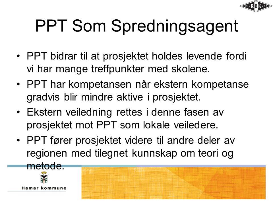 PPT Som Spredningsagent •PPT bidrar til at prosjektet holdes levende fordi vi har mange treffpunkter med skolene. •PPT har kompetansen når ekstern kom