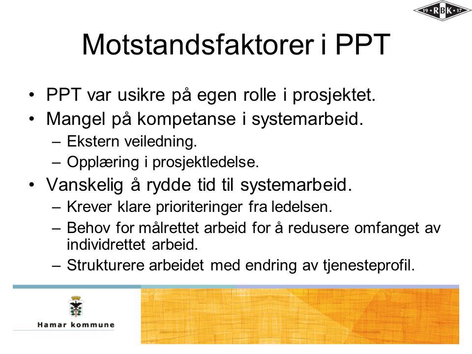 Motstandsfaktorer i PPT •PPT var usikre på egen rolle i prosjektet. •Mangel på kompetanse i systemarbeid. –Ekstern veiledning. –Opplæring i prosjektle