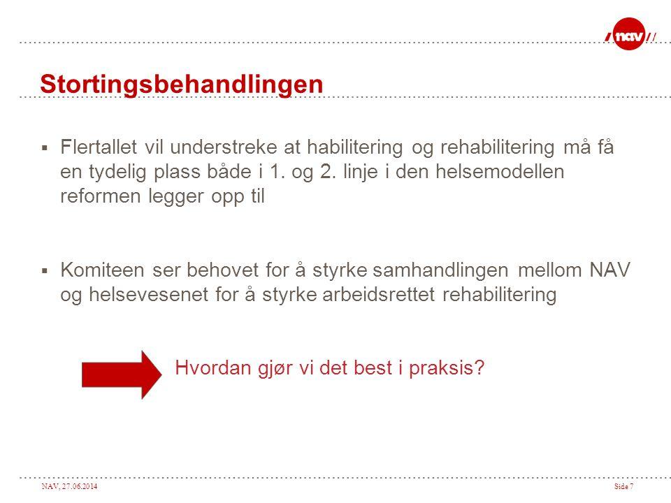 NAV, 27.06.2014Side 7 Stortingsbehandlingen  Flertallet vil understreke at habilitering og rehabilitering må få en tydelig plass både i 1.