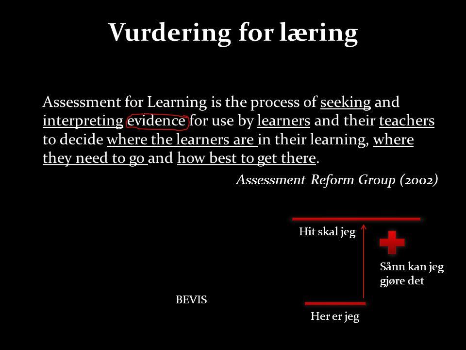 Sentrale begrep om vurdering Konstrukt Validitet Summativ vurdering Tilbakemelding Egenvurdering Formativ vurdering Fremovermelding Undervisning Individuelt arbeid ?