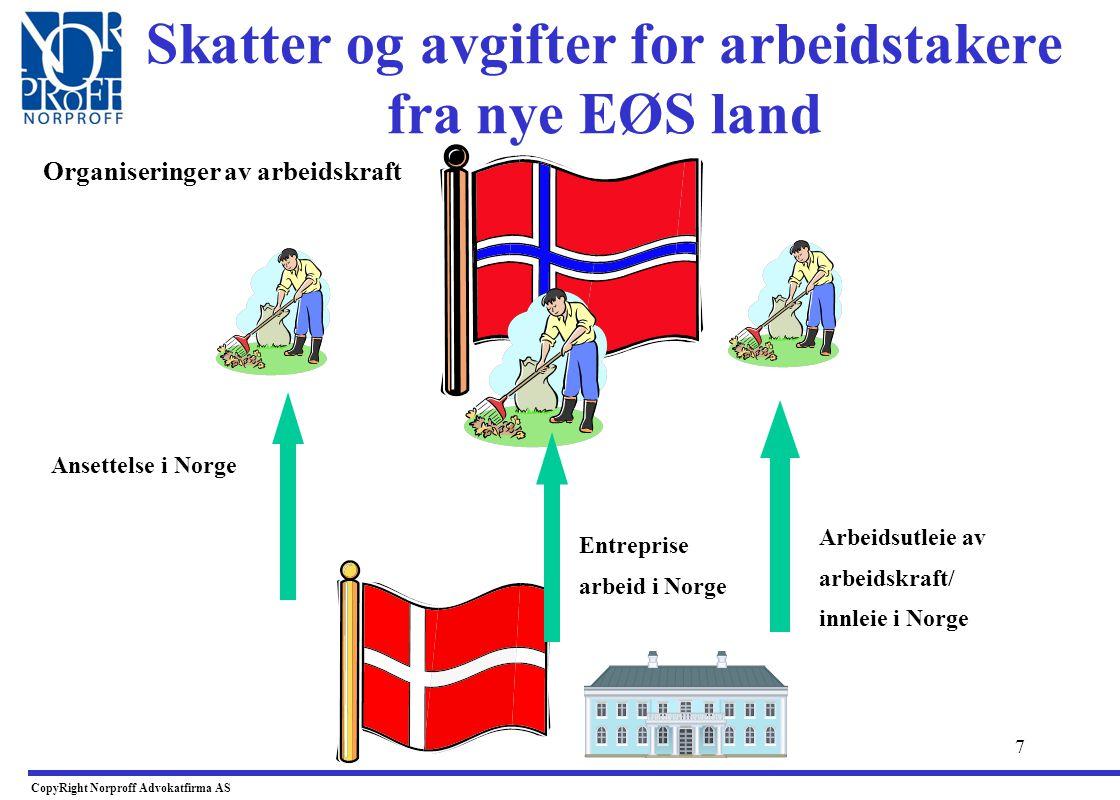 7 Skatter og avgifter for arbeidstakere fra nye EØS land CopyRight Norproff Advokatfirma AS Arbeidsutleie av arbeidskraft/ innleie i Norge Entreprise arbeid i Norge Ansettelse i Norge Organiseringer av arbeidskraft
