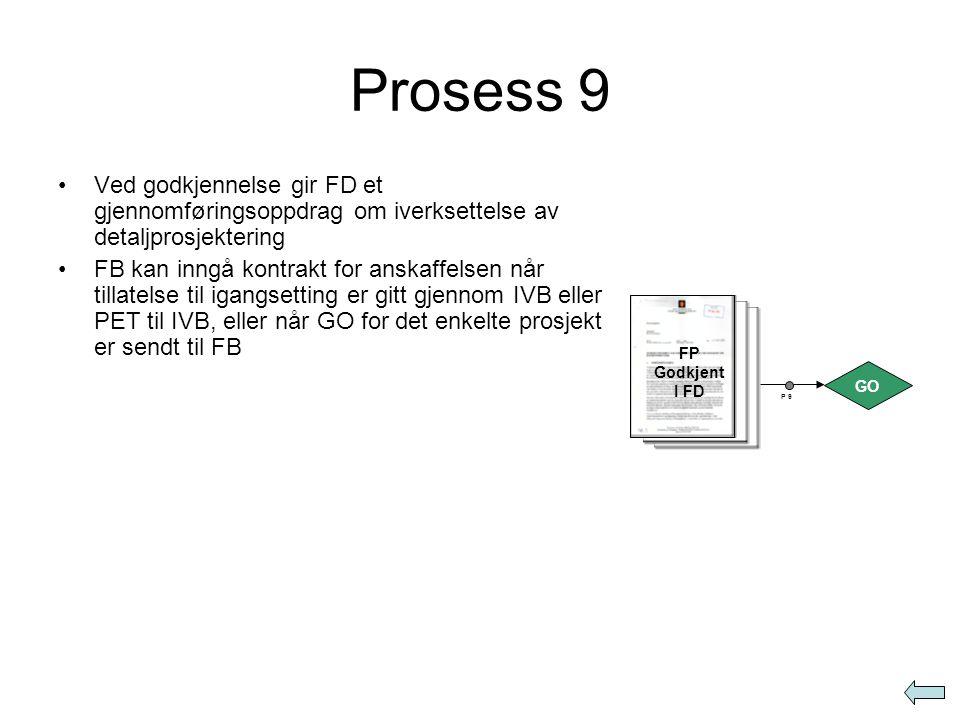 Prosess 9 •Ved godkjennelse gir FD et gjennomføringsoppdrag om iverksettelse av detaljprosjektering •FB kan inngå kontrakt for anskaffelsen når tillat