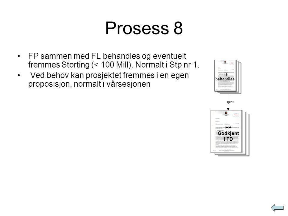 Prosess 8 •FP sammen med FL behandles og eventuelt fremmes Storting (< 100 Mill). Normalt i Stp nr 1. • Ved behov kan prosjektet fremmes i en egen pro