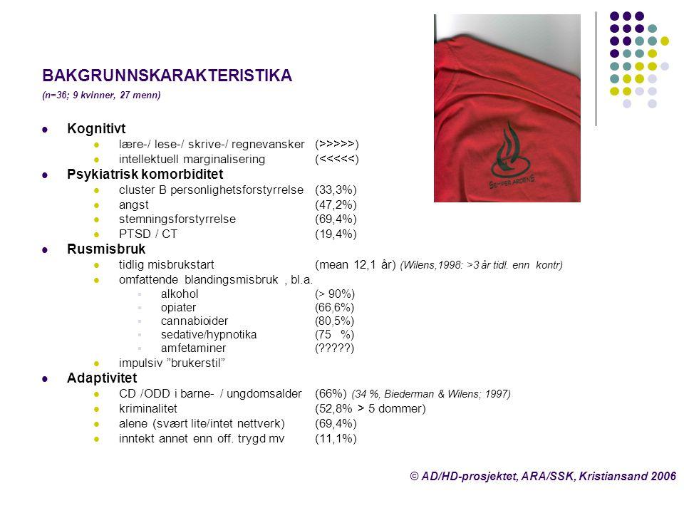 BAKGRUNNSKARAKTERISTIKA (n=36; 9 kvinner, 27 menn)  Kognitivt  lære-/ lese-/ skrive-/ regnevansker (>>>>>)  intellektuell marginalisering (<<<<<) 
