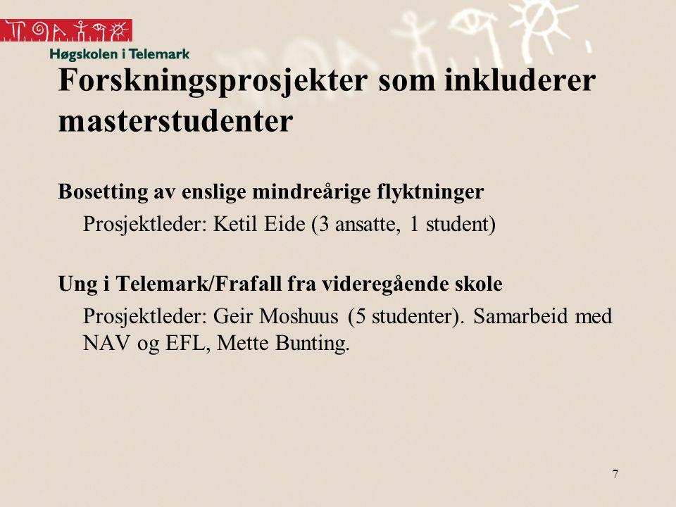 Forskningsprosjekter som inkluderer masterstudenter Bosetting av enslige mindreårige flyktninger Prosjektleder: Ketil Eide (3 ansatte, 1 student) Ung