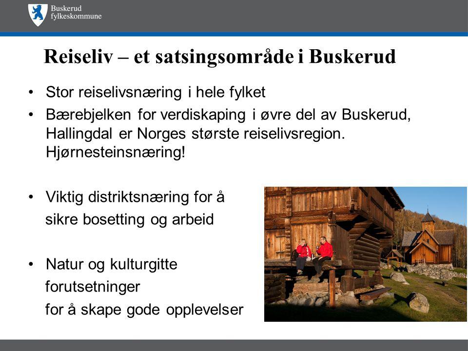 Reiseliv – et satsingsområde i Buskerud •Stor reiselivsnæring i hele fylket •Bærebjelken for verdiskaping i øvre del av Buskerud, Hallingdal er Norges største reiselivsregion.