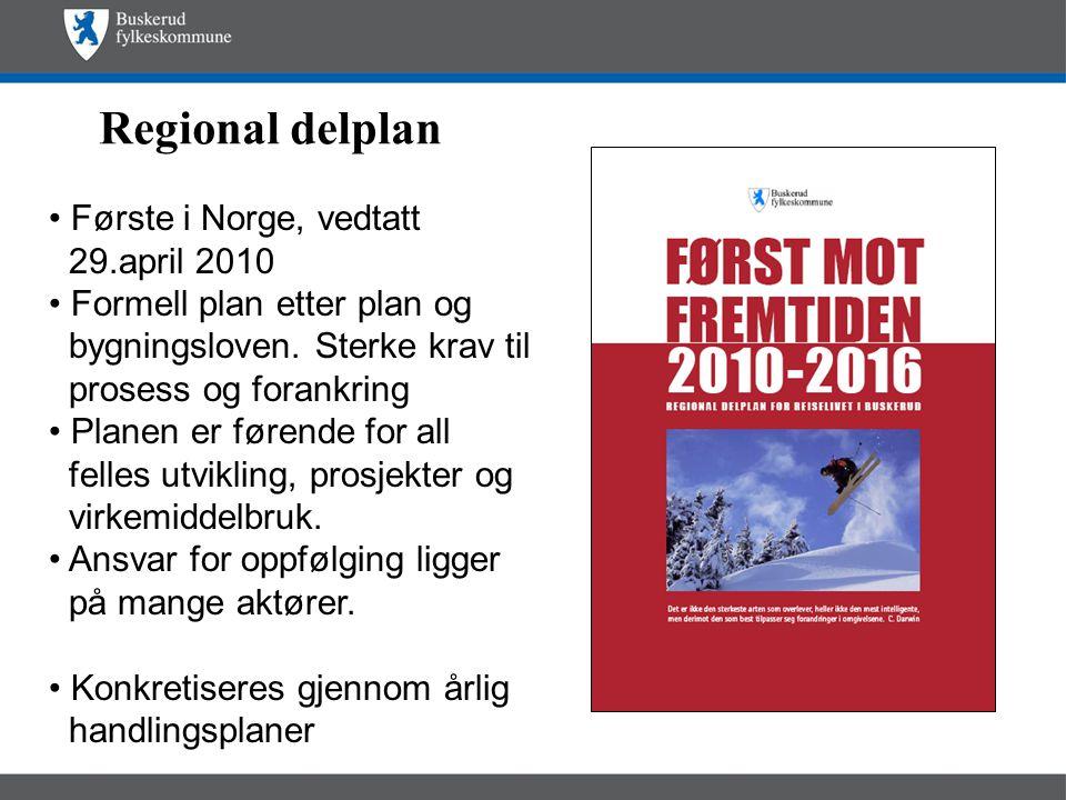 Regional delplan • Første i Norge, vedtatt 29.april 2010 • Formell plan etter plan og bygningsloven.