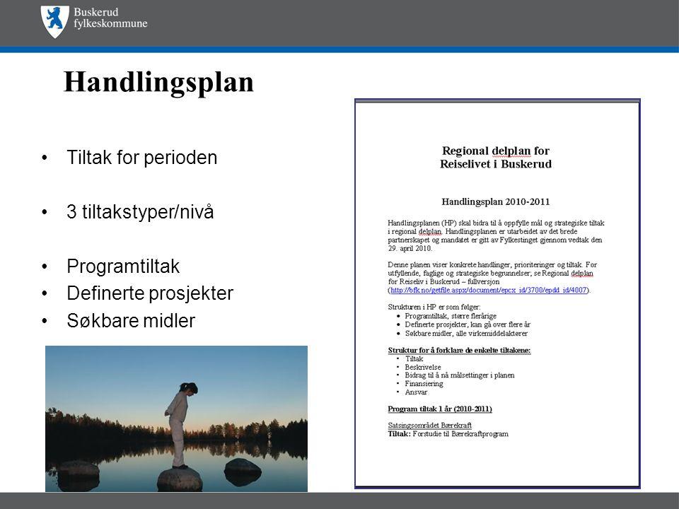Handlingsplan •Tiltak for perioden •3 tiltakstyper/nivå •Programtiltak •Definerte prosjekter •Søkbare midler