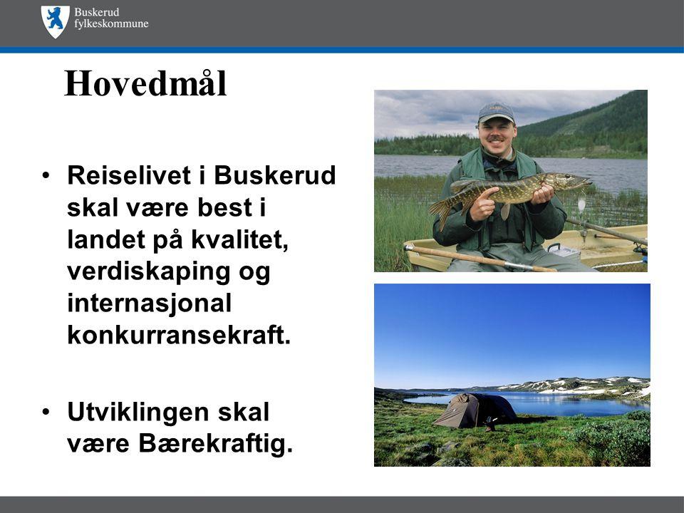 Hovedmål •Reiselivet i Buskerud skal være best i landet på kvalitet, verdiskaping og internasjonal konkurransekraft.