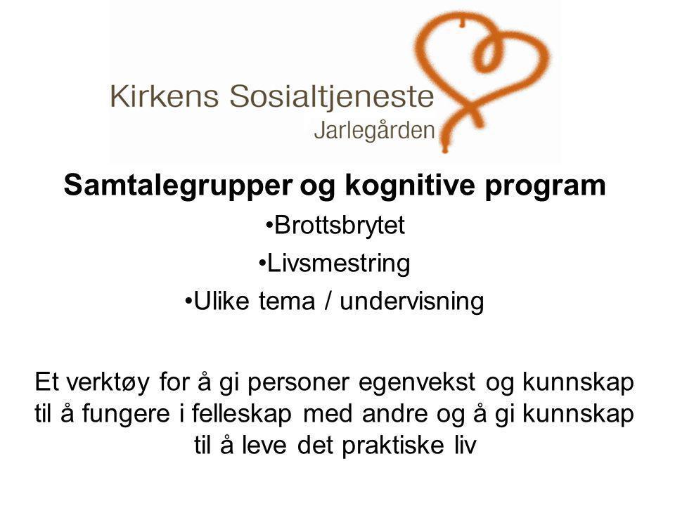 . Samtalegrupper og kognitive program •Brottsbrytet •Livsmestring •Ulike tema / undervisning Et verktøy for å gi personer egenvekst og kunnskap til å