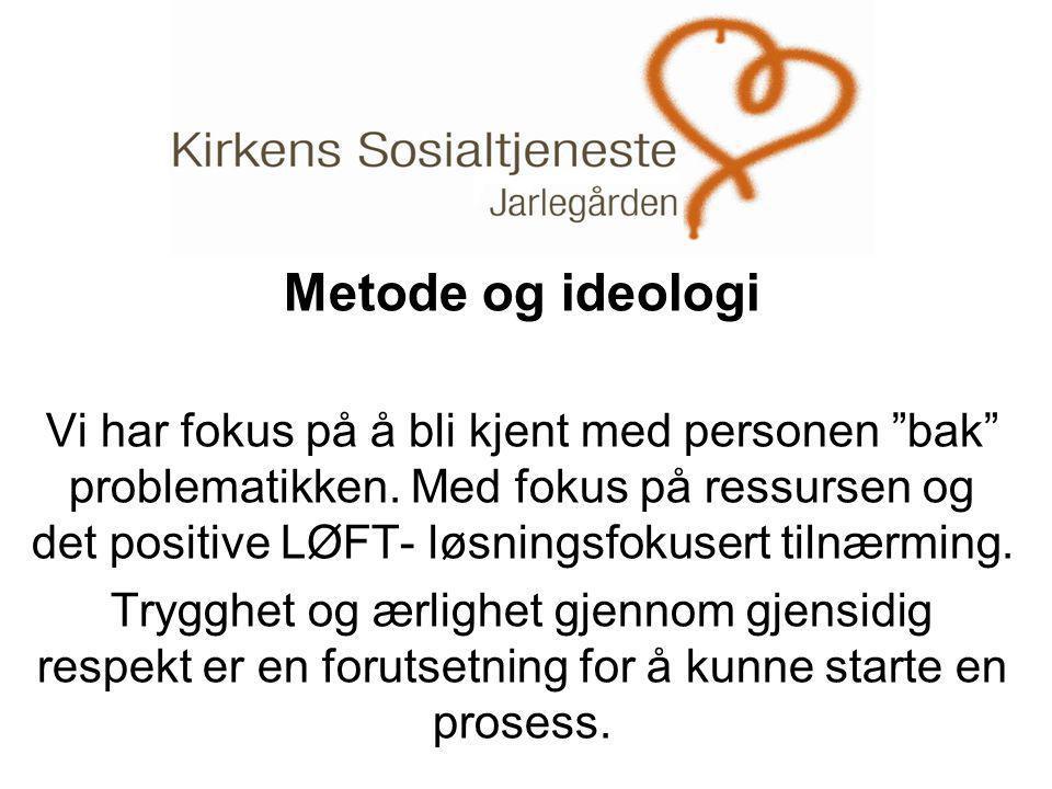 """. Metode og ideologi Vi har fokus på å bli kjent med personen """"bak"""" problematikken. Med fokus på ressursen og det positive LØFT- løsningsfokusert tiln"""