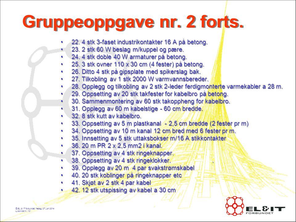 © EL & IT forbundet, fredag, 27.juni 2014 Lysbilde nr.: 10 Gruppeoppgave nr.