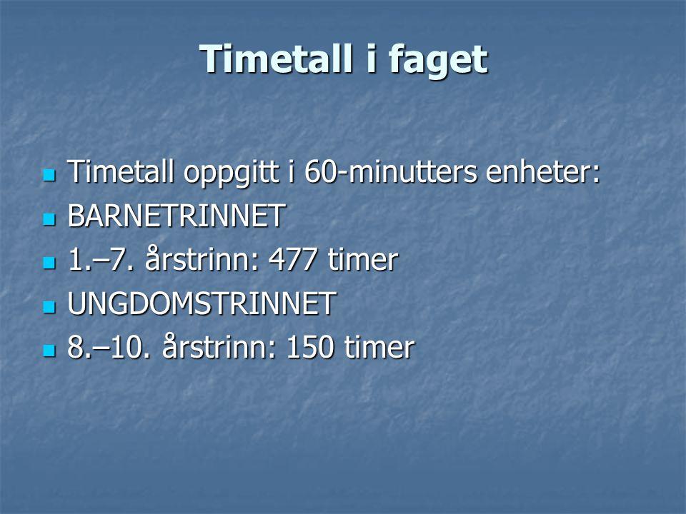 Timetall i faget  Timetall oppgitt i 60-minutters enheter:  BARNETRINNET  1.–7. årstrinn: 477 timer  UNGDOMSTRINNET  8.–10. årstrinn: 150 timer