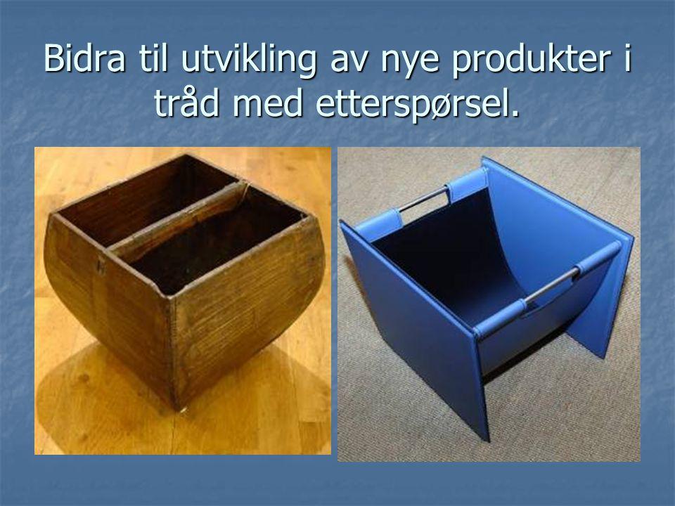 Bidra til utvikling av nye produkter i tråd med etterspørsel.