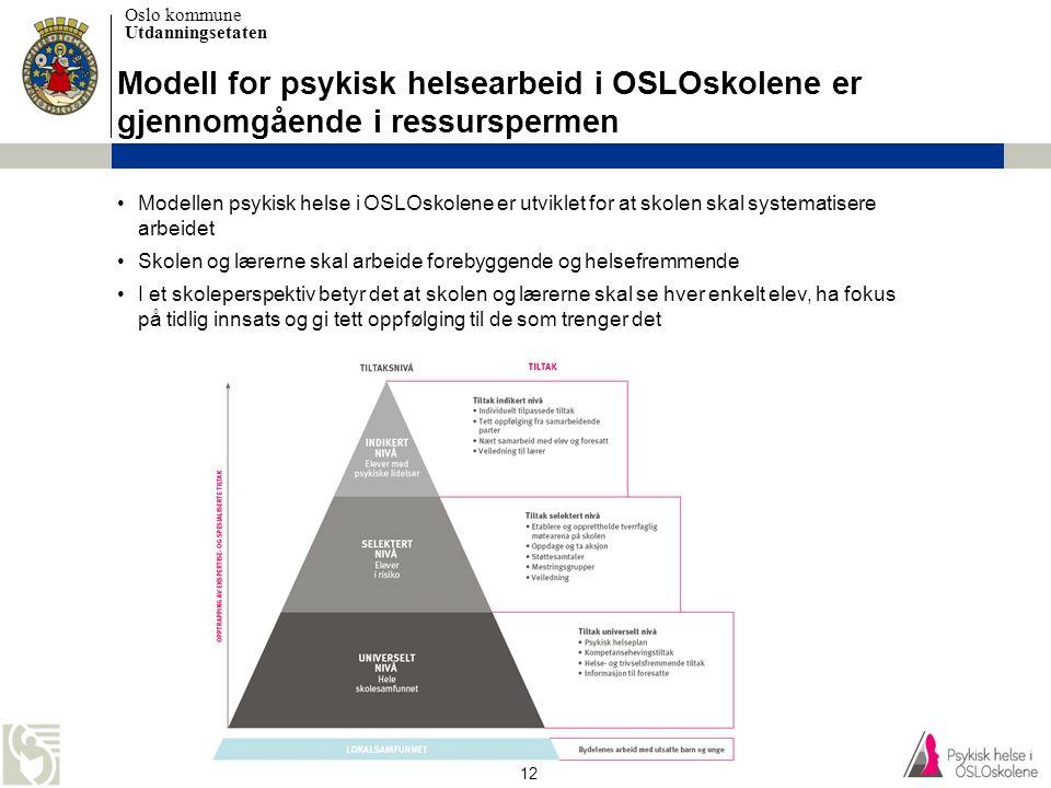 Oslo kommune Utdanningsetaten 12 •Modellen psykisk helse i OSLOskolene er utviklet for at skolen skal systematisere arbeidet •Skolen og lærerne skal a