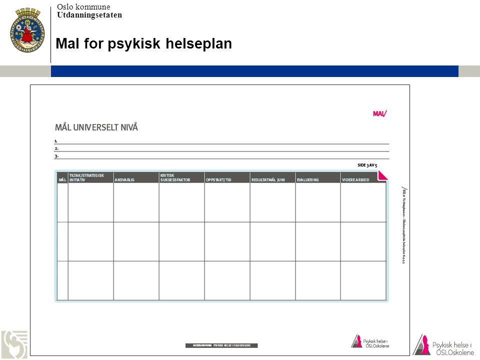Oslo kommune Utdanningsetaten 13 Mal for psykisk helseplan