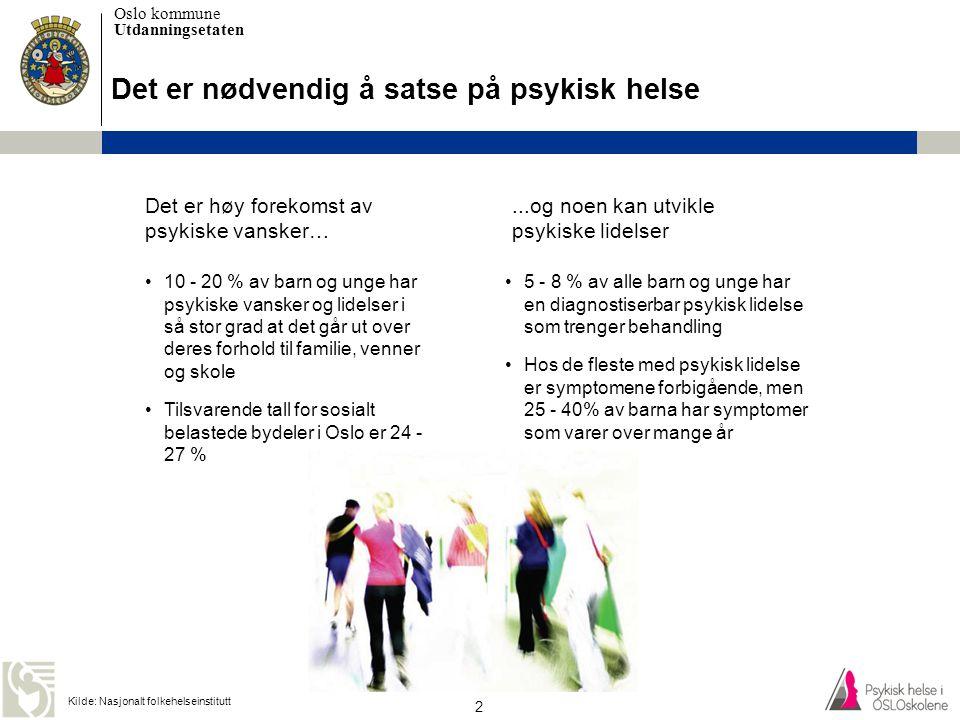 Oslo kommune Utdanningsetaten 3 UDE satser på psykisk helse i Osloskolene •Lærere og elever skal øke sin kunnskap om psykisk helse •Lærere skal øke sin kompetanse om hjelpeapparatet og hvordan hjelpeapparatet kan bistå med tilrettelegging for den enkelte elev •Skolen skal lage en plan for psykisk helsearbeid med tydelige tiltak basert på skolens behov.