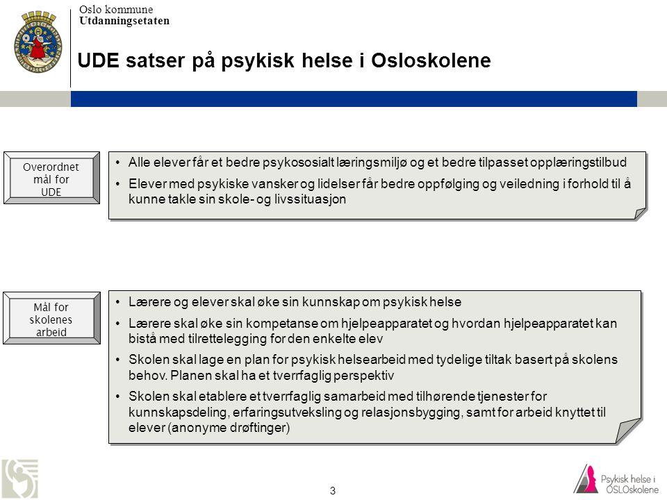 Oslo kommune Utdanningsetaten 3 UDE satser på psykisk helse i Osloskolene •Lærere og elever skal øke sin kunnskap om psykisk helse •Lærere skal øke si